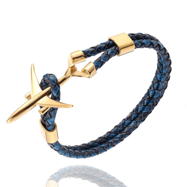 Gold Stainless Steel Airplane Anchor Bracelet