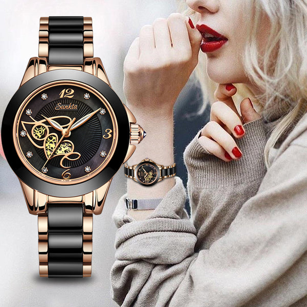 Diamond Surface Ceramic Strap Waterproof Watch