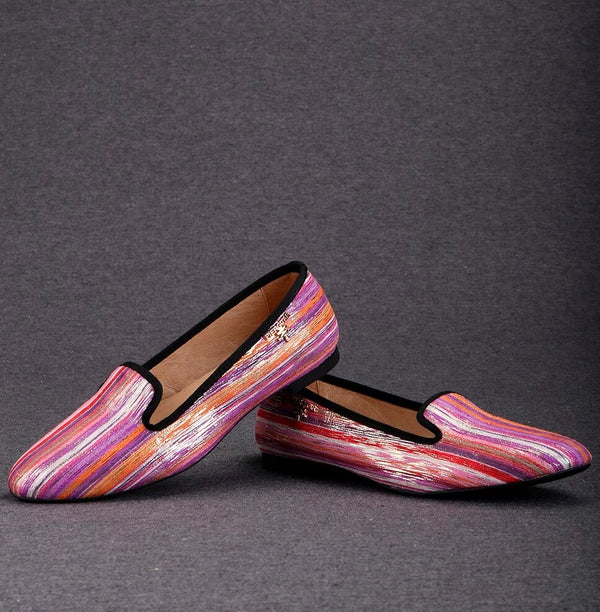 Mixed Colors Fabrics Handmade metal charm loafer