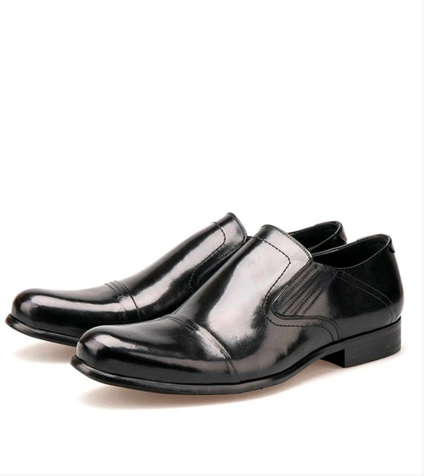 Round Toe Leather Slip shoe