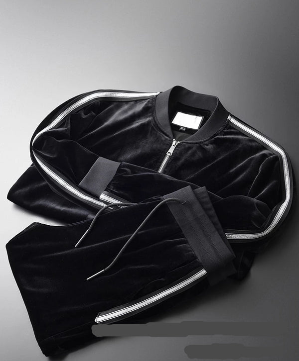 Pleuche Fabric Slim Fit Thick Tracksuits