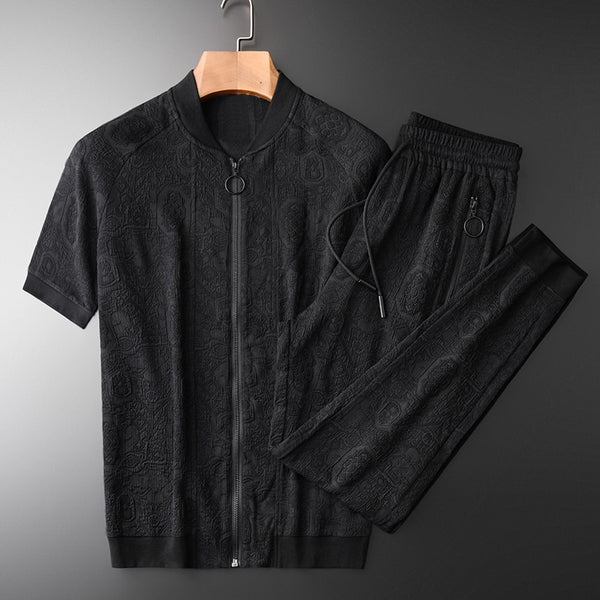 Black Stand  Metal Zipper Short Sleeve Tracksuit