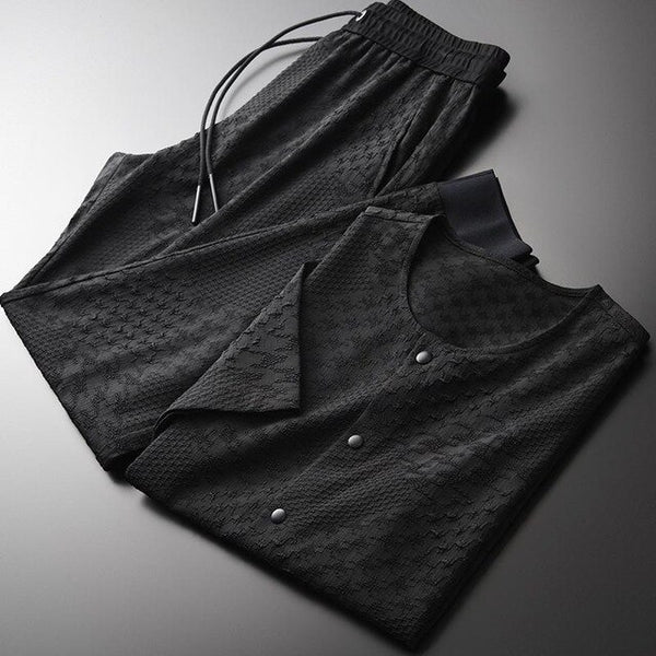 Luxury Yarn-dyed Single Breasted Short Sleeve Tracksuit