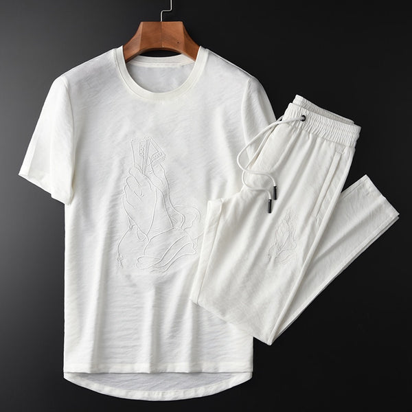 White Embroidery Short Sleeve Tracksuit