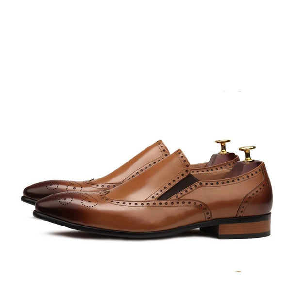 Brown Pointed toe Slim soft leather shoe