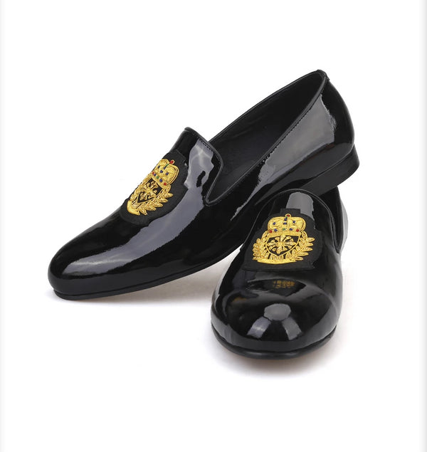 Black patent leather gold embroidered loafers