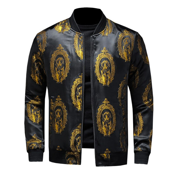 Gold Leisure embroidery printing jacket
