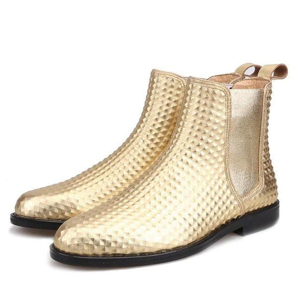 Classic Handmade Gold Embossed leather  Chelsea Boot