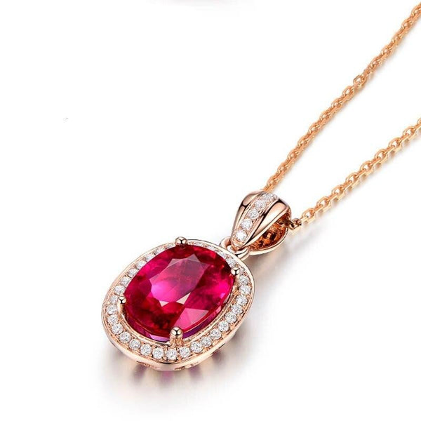Oval Shape Silver Ruby Zircon Gemstones Pendant Necklace