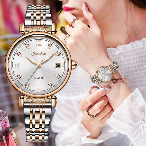Rose Gold Quartz Waterproof Wristwatch