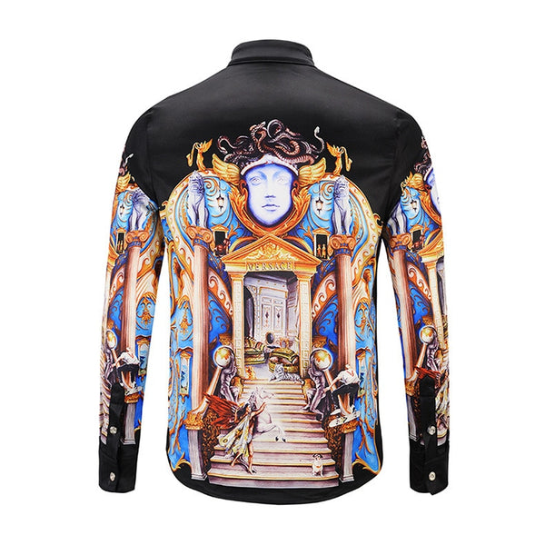 Luxury Royal Palace Print Casual Slim Fit Long Sleeve Shirt