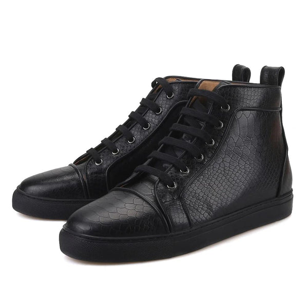 Black embossing Leather  Handcrafted sneakers boot