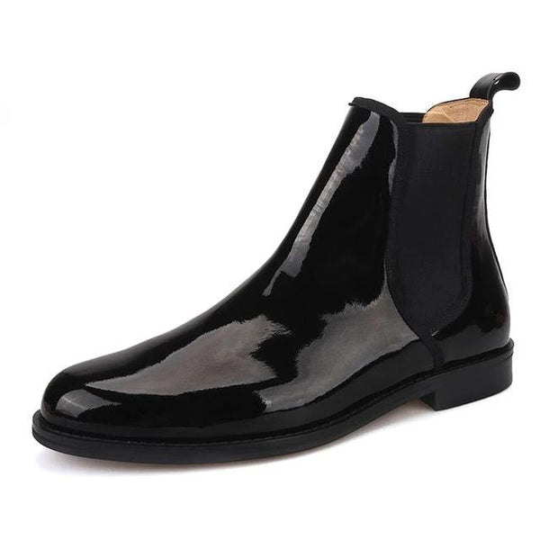 Black Patent leather Chelsea Boots