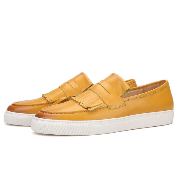 Hand-brushed yellow calfskin slip-on skate