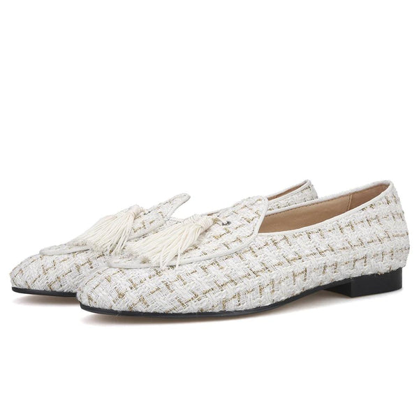 White mix gold knit fabric handmade loafer