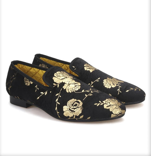 Golden flower printing handmade velvet loafer