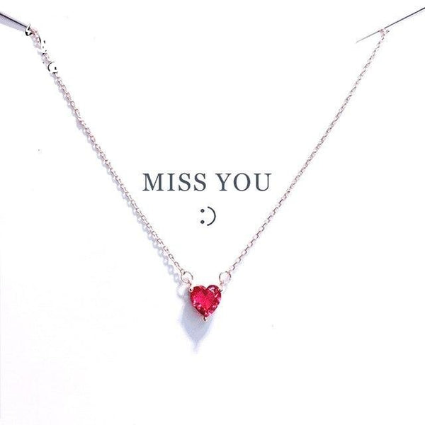 Red Heart Chain Crystal Simple Pendant Necklace