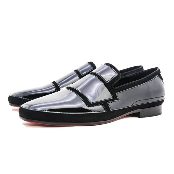 Black Painted Leather Stitching Banquet loafer
