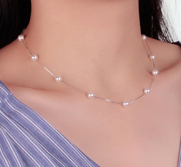 Sterling Silver 6mm Pearl Choker Necklace