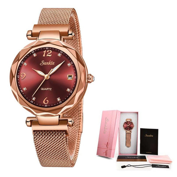 Crystal Waterproof Rose Gold Steel Mesh Quartz Watch