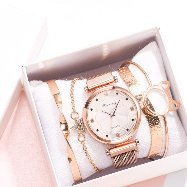 5pcs Luxury Magnet Buckle Flower Rhinestone Watch Bracelet