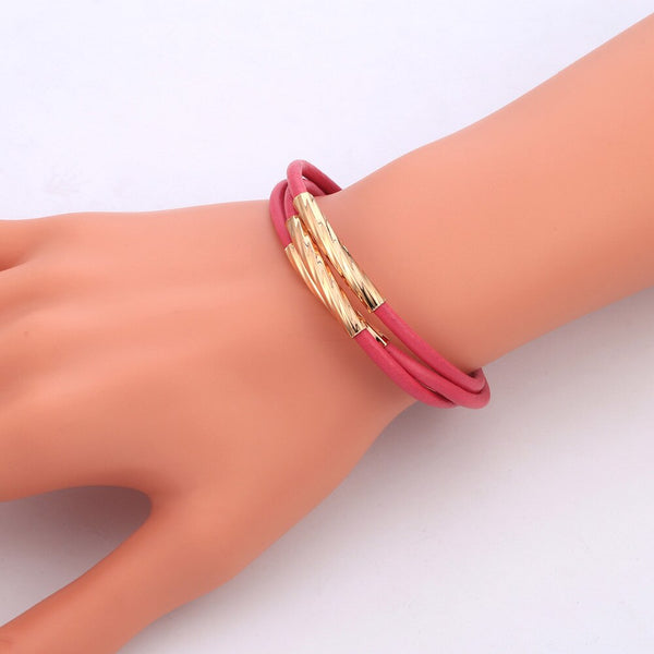Rose Gold Rope Leather Chain Bracelet