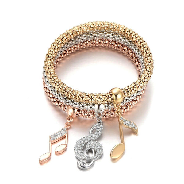 Crystal Music Note Popcorn Chain Bracelet
