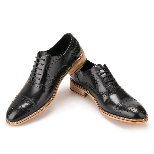 Oxfords Carved Leather Brogue Shoe