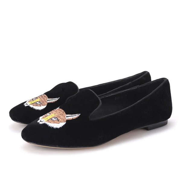 Velvet Embroidered Fox Pattern Loafer