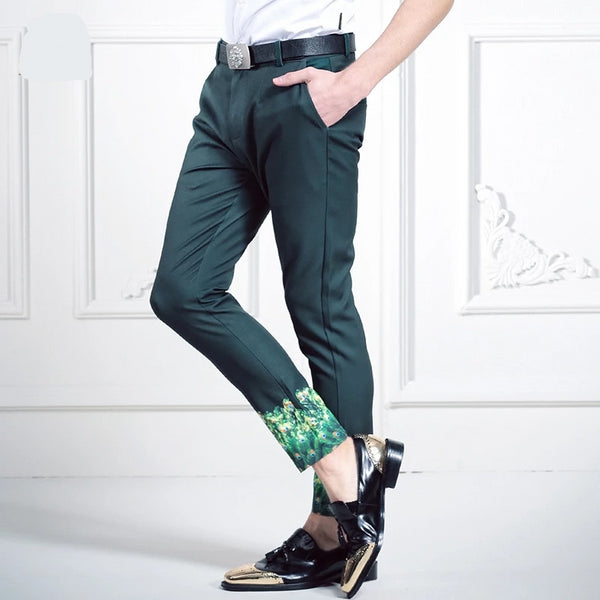 green printed straight  tuxedo  Slim Fit Trouser