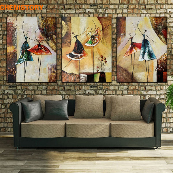Handpainted Ballet Dancer Abstract Modern Home Decor