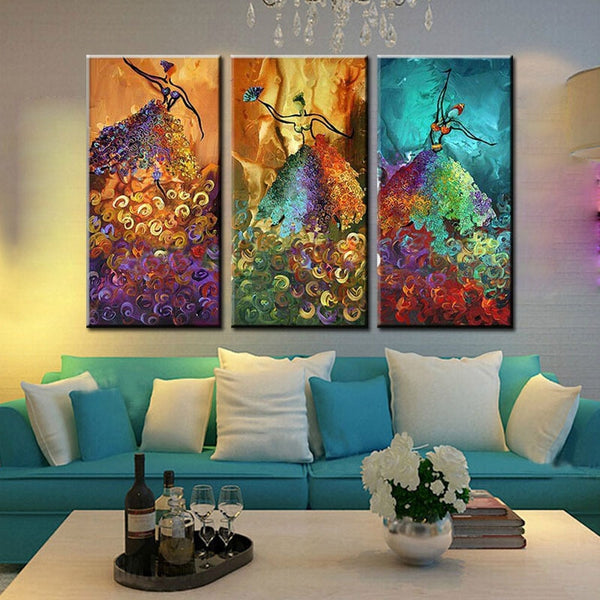 3 Panel Colorful Dancer Handmade Modern Oil Paint