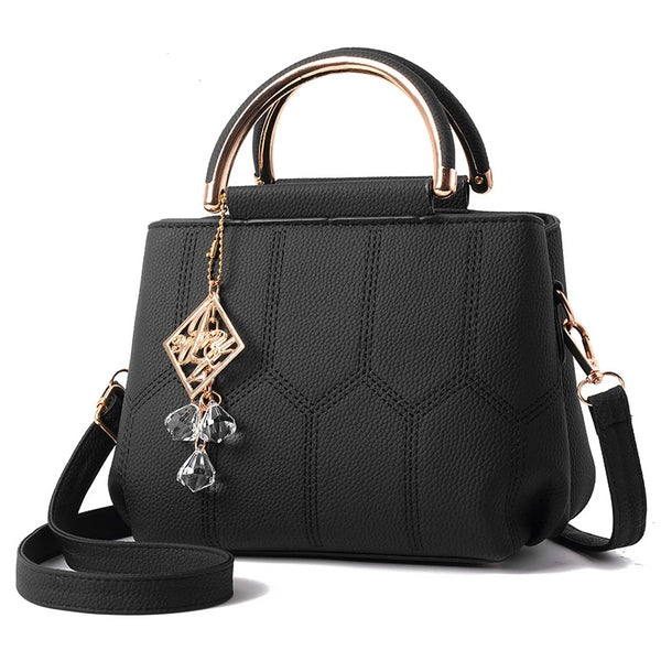 Leather Pendant Design Tote Handbag