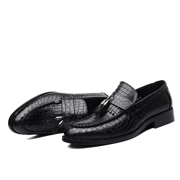 Leather Slip-on Round Toe Black Oxford Shoe
