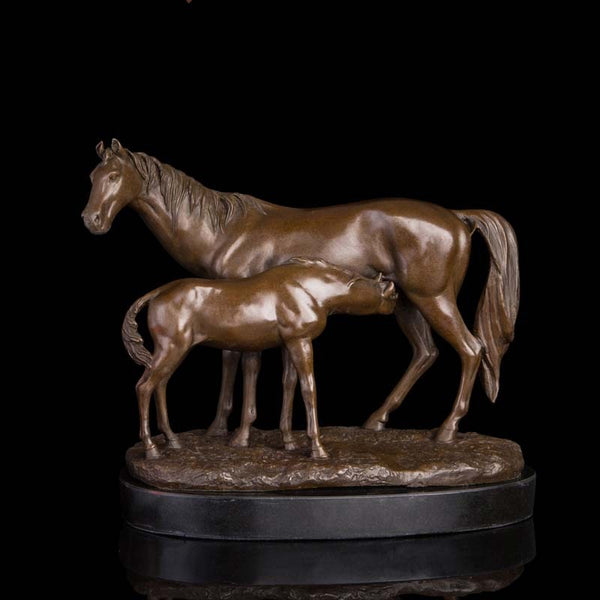 Antique Brass Sculptures Pony and  Mare Horses Statues