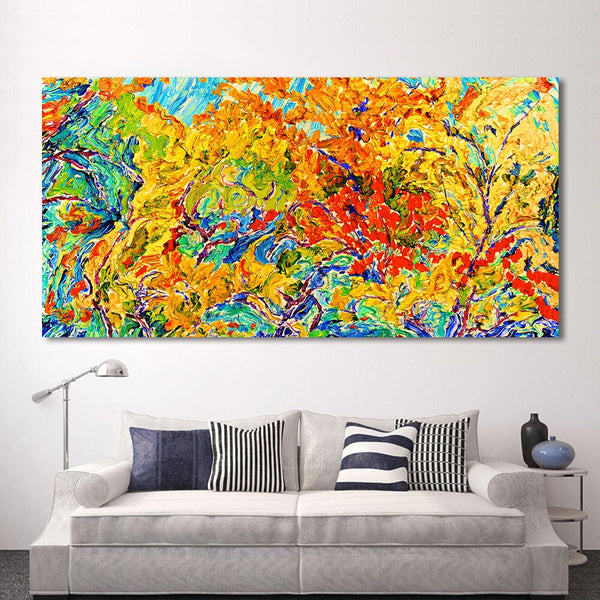 Modern Oil Painting Canvas Leaves Home Decor