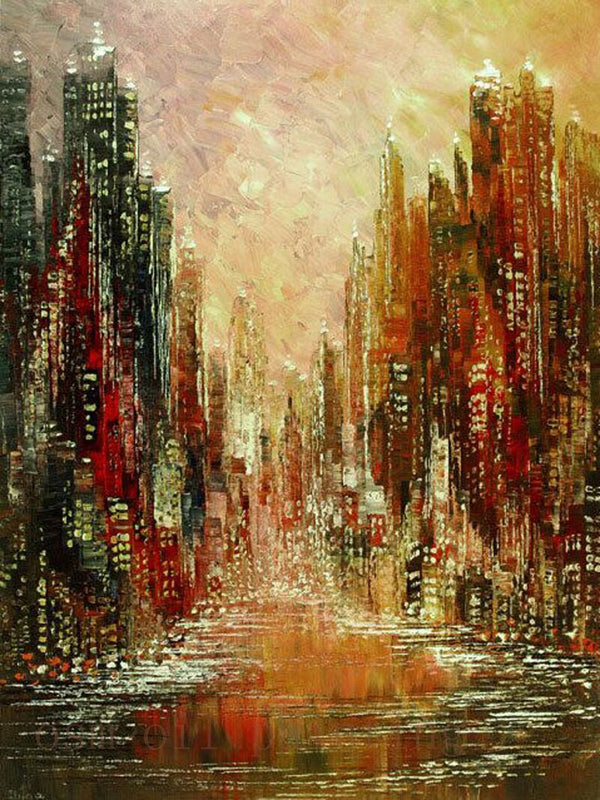 Modern Cityscape Palette Knife Oil Painting on Canvas Handmade