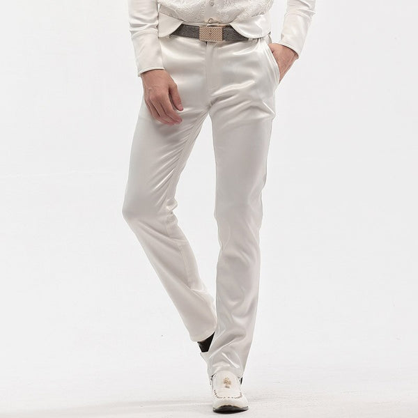 Milk white Slim spring straight  tuxedo  Slim Fit Trouser
