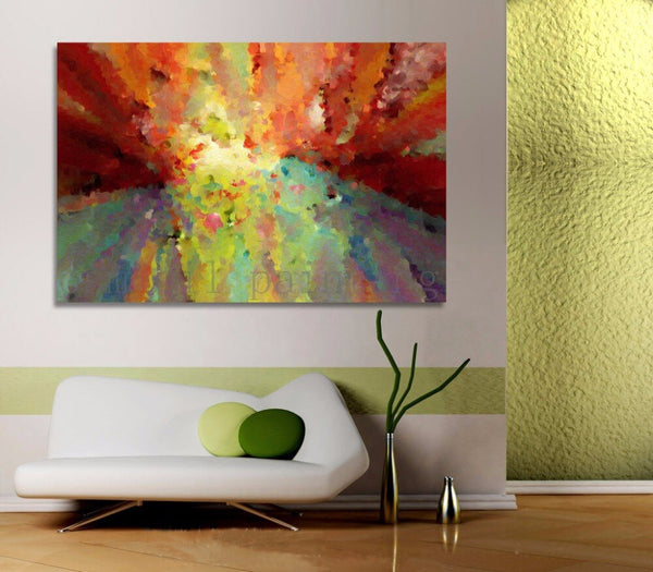 Painted Abstract Landscape Calligraphy Colorful