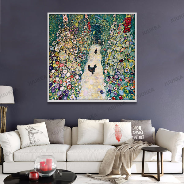 Courtyard Landscape Classic Oil Painting Canvas Print