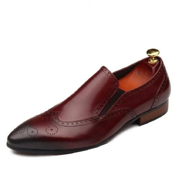Red Pointed toe Slim soft leather shoe