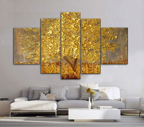 Golden Abstract Fortune Lucky Trees Handmade Oil Paintings Home Decor