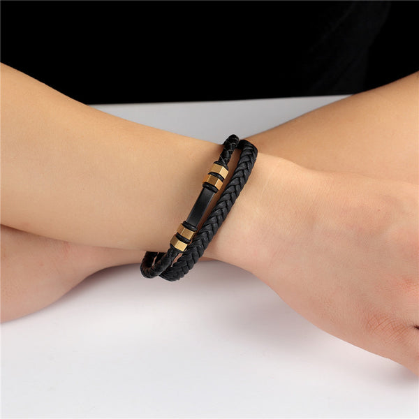 Stainless Steel Chain  Leather Gold Bracelet