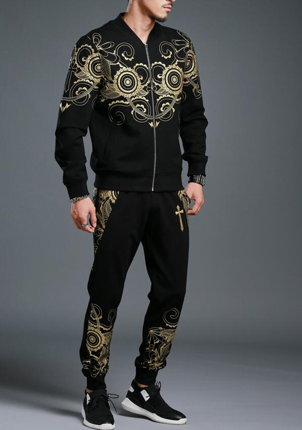 Black Embroidery Tracksuits
