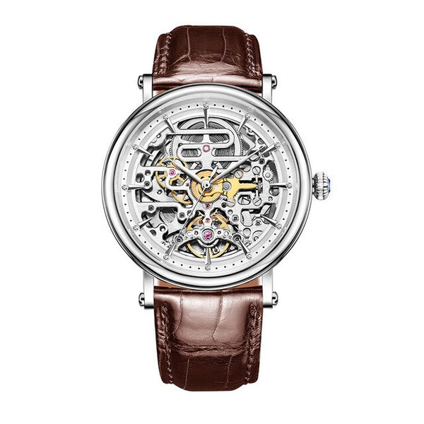 Automatic  Rose Gold Skeleton Leather Strap Watch