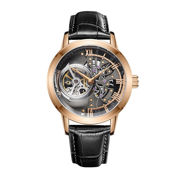 Skeleton Dial Calfskin Leather Rose Gold Watch