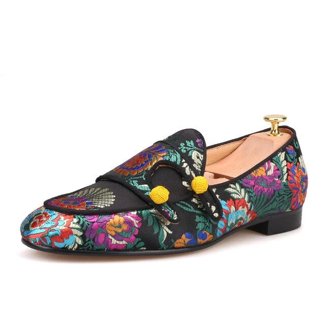 Super glamourous  luxury flower silk Handmade loafer