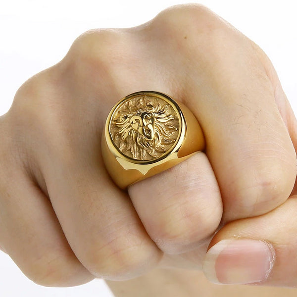 Gold Lion Stainless steel Ring
