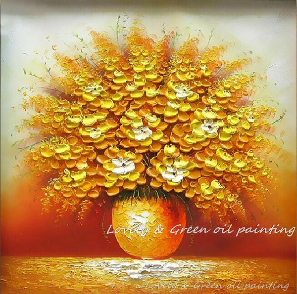 100% Hand Painted Home Hotel Wall Art Blooming Gold Flower Oil Paint