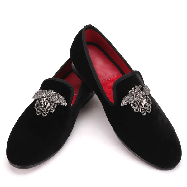 Silver Face buckle handmade velvet Loafer